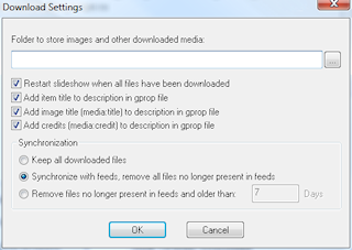 RSS media download settings